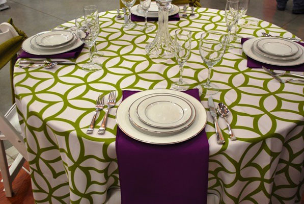 green white and purple linen