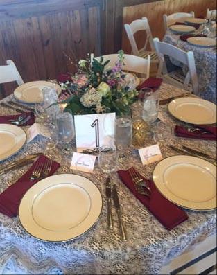 cream linen round table