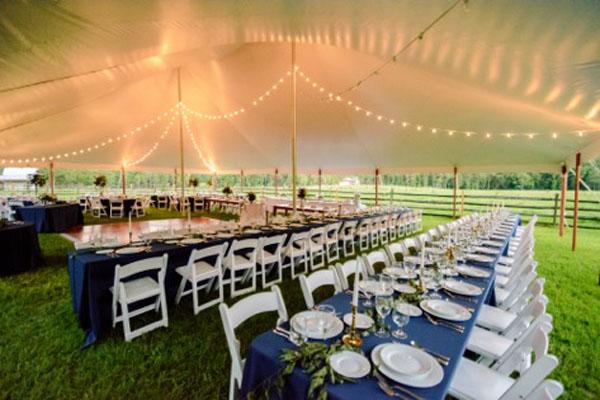 blue linen long table
