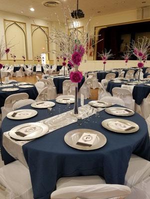 blue linen tables