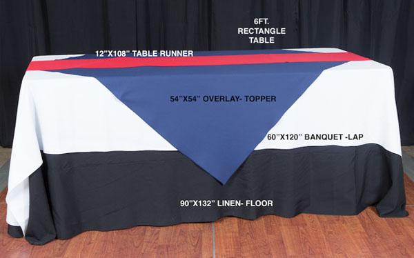 6ft rectangle table linen